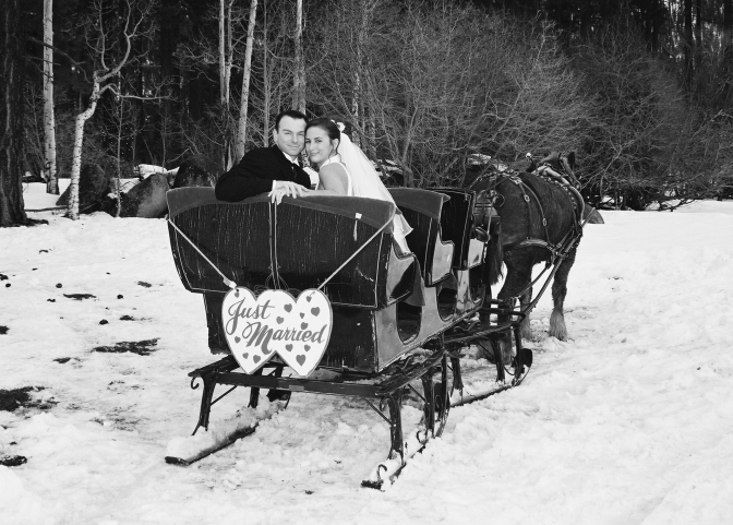 wedding carriage bw
